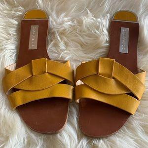 Leather Mustard Yellow Slides